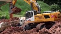 挖掘机工作视频 挖掘机视频搅拌车 工程车 推土机 吊车