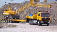 RC遥控半挂卡车运输挖掘机施工