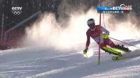 高山滑雪男子回转决赛第一轮 精彩集锦1