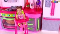 芭比娃娃娃娃床时间常规 - 宝宝娃娃洗澡时间&喂乐趣玩