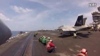 超近距离看美帝航母甲板蒸汽弹射起飞F18大黄蜂战机