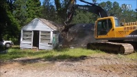 挖掘机勾机5分钟拆推倒房子