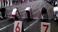 大学生百米赛跑,2B青年起跑姿势hold住全场 Q7091607学建站