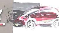 如何用马克笔和色粉表现三菱汽车效果图教程2