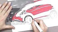 如何用马克笔和色粉表现三菱汽车效果图教程3