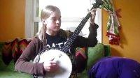 小姑娘弹奏五弦琴-有韵味
