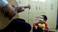 【藤缠楼】两岁宝宝与爸爸吉他弹唱甲壳虫乐队-Don't Let Me Down