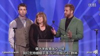 Chris Evans, Scott Evans, and Mom at the GLAAD Awards-中字