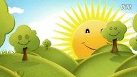 LED0014六一儿童卡通类蓝天白云太阳公公笑脸歌舞视频背景素材