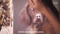 1 Time lapse painting by My Hansson, wachtel dog