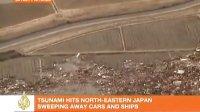 航拍日本海啸 村庄农田瞬间被吞没