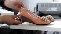 尤尤哥 2012 日系小坡跟单鞋女串珠水钻婚鞋单鞋 漆皮蝴蝶结单鞋平底中跟坡跟