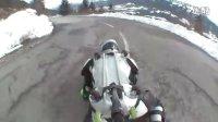 "【buggy rollin人体轮滑】 冬季公路上测试,,世界上最刺激的极限运动"""