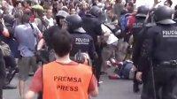 巴塞罗那防爆警察群殴游行市民