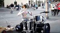 街头超赞架子鼓表演