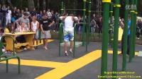 街头极限健身 俄罗斯传奇高手  单臂俄挺 超宽距俄挺