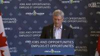 加拿大总理哈珀在萨斯喀彻温省勒红斯地区的演讲