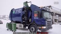 国外先进的垃圾车(一个人就可完成开车和倒垃圾桶动作)