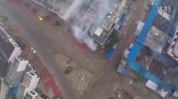 【2015大年初一】早上从空中看小镇笼罩在爆竹烟花的迷雾中