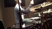 Matt Greiner using a GK Customs snare in the studio