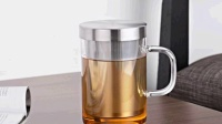 尚明耐热玻璃杯茶杯过滤花茶杯 男女士玻璃杯水杯带盖办公茶