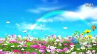 0027蓝天白云彩虹蒲公英纷飞蝴蝶飞舞鲜花盛开草地视频素材