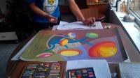 色彩构成装饰画色粉画创作《圆的旋律2》过程记录跟李老师学画画1