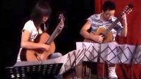 山西太原古典吉他老师郭利民的学生姜达和魏岱娅演奏朱利亚尼《A大调音乐会波洛乃兹舞曲》