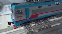 火车模型在自制的火车模型跑步机上的运行视频