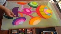 色彩构成装饰画色粉画创作《圆的旋律3》深入过程记录跟李老师学画画
