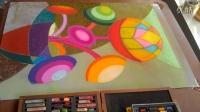 色彩构成装饰画色粉画创作《圆的旋律3》完成过程记录跟李老师学画画