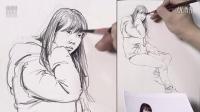 「国君美术」刘雪松人物速写女青年坐姿_速写入门_速写教程_速写手绘