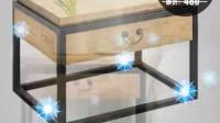 美式复古实木家具欧式床头柜铁艺简约 现代小型抽屉柜沙发柜
