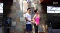 健身健美肌肉训练 三角肌前部肌肉拉伸 健身美女动作示范