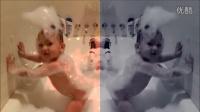 爆笑!满身泡沫的萌宝在浴缸里扭屁股跳舞,太可爱了!