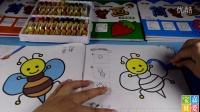 简笔画涂色亲子早教小蜜蜂