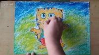 大脸猫儿童画卡通画色粉画教学微课跟李老师学画画2