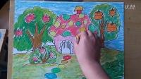 儿童画果园里的房子丰收啦微课跟李老师学画画2