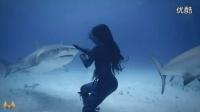 长发美女海底与鲨共舞----画面美轮美奂