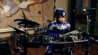 美国队长打架子鼓《fantastic baby 》8岁鼓童表演