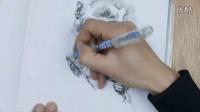 钢笔彩铅画:猴子