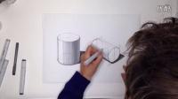 工业设计手绘圆柱体投影马克笔教程