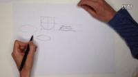 工业设计手绘几何体椭圆正常画法教程2