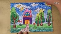 可爱的小房子色粉上色2(3-5岁)幼儿美术跟李老师学画画