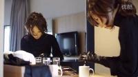Natalie7 - a doll in long satin gloves, making tea for her dear friend