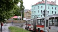 捷克-拉贝河畔乌斯季 57路无轨电车过并线落拖铃