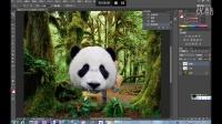 Photoshop第12集教程-PS合成密林中看报的熊猫人
