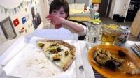 木下祐嘩夜宵直播 南瓜里科塔奶酪披萨+炸海鲜+凯撒沙拉+勃朗峰蛋糕+提拉米苏