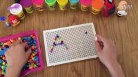 制作英文字母Aa - 儿童蘑菇钉组合拼插板拼图宝宝益智