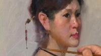 油画教程 钢琴姑娘 视频教学 第四集
